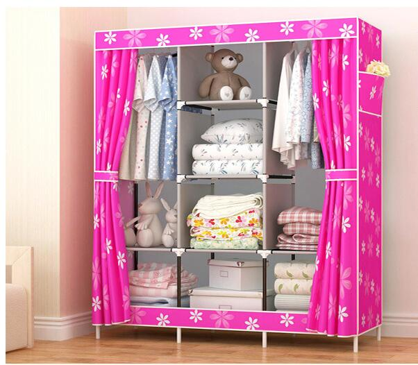 Wardrobe font b Closet b font Large And Medium sized Wardrobe Cabinets Simple Folding Reinforcement Receive