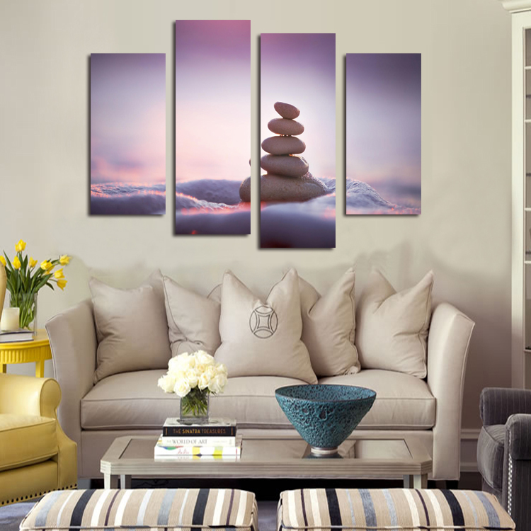 Good Quality 4P Art Canvas Painting Sand Stone Wall