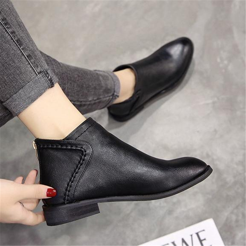 Image 5 - Spring and autumn ladies Martin boots British style low heel and ankle boots 2018 new retro Korean short bootsAnkle Boots   -