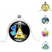 Glass Cabochon Anime Jewelry with Silver Plated  Drama Gravity Falls Mysteries Bill Cipher Pattern Choker Long Pendant Necklace