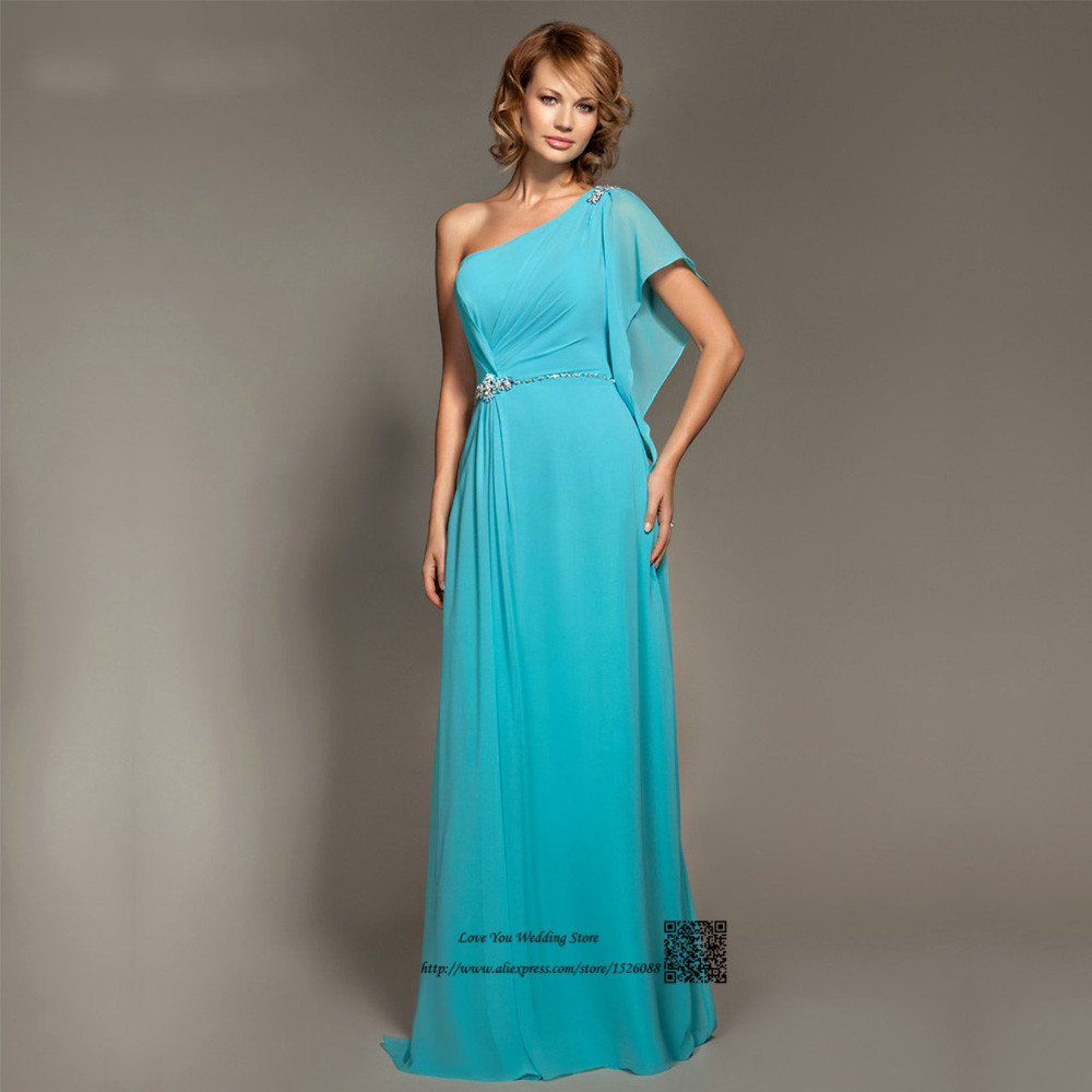 Plus Size one Shoulder Turquoise Sky Blue Bridesmaid Dresses Long ...