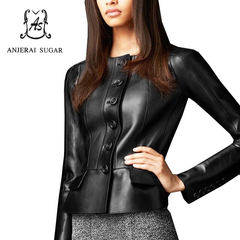 Spring Sheepskin genuine leather women leather jacket coat Black Borwn clothing female sexy OL Slim Button Ruffles Short Jacket