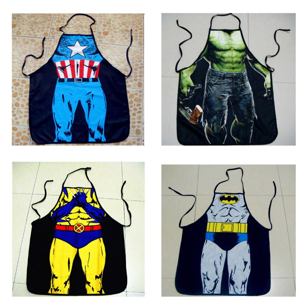 Free shipping,Avengers hulk,superman,batman, captain America Sexy / Funny Naked Muscle Man Apron Party Kitchen For halloween