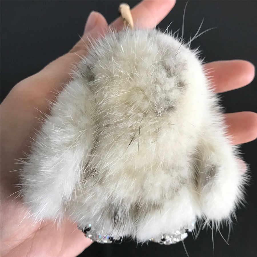 Magicfur-настоящий мех норки кролик W кристалл диамо милый кролик кукольный брелок Сумочка Кошелек автомобильный брелок для телефона кулон