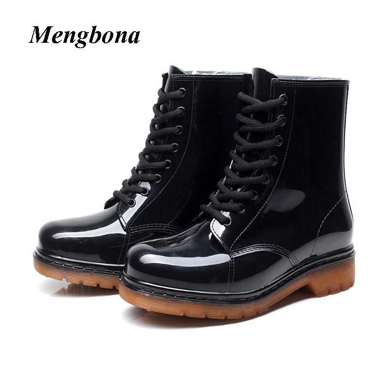 2017 New Arrival Fashion Black women rainboots waterproof ankle font b boots b font PVC font