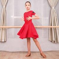 Children Dancing costume Short Sleeve Latin dance One piece dresses for girl flamengo ballroom Tango Performance wear G3109
