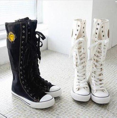 New Women s Black or White Punk EMO Rock Mid Calf High Boots Shoes Free  Shipping EU35 to EU39 734bf709d