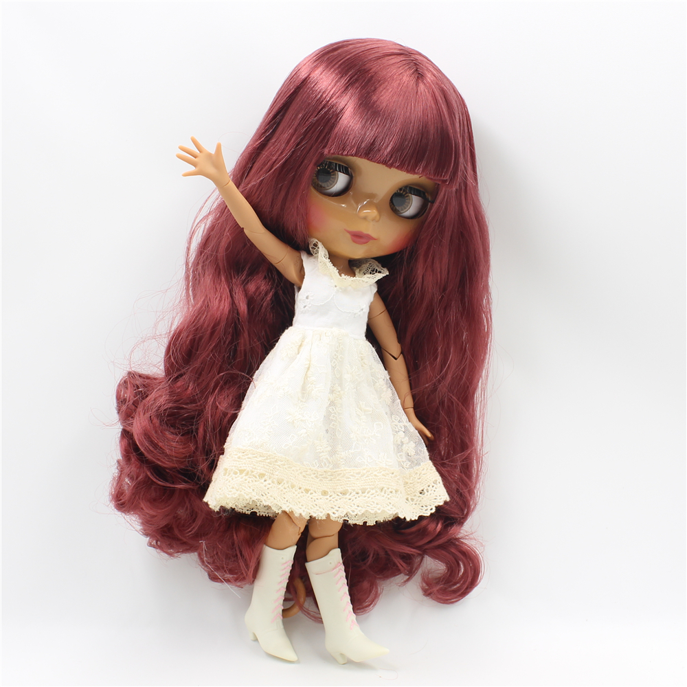 Blyth nude doll Red Wavy Hair with bangs dark skin joint body DIY Makeup doll toys bjd blyth dolls for sale 12 blyth nude doll k 180 black hair bjd blyth doll for sale