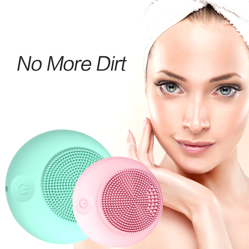 Sonic Facial Cleansing Brush Device Silicone Powered Face Cleaner Portable Pore Dirt Removal Black Head Pimple Skin Oil Control цена
