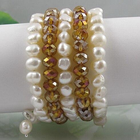 Naturel Perle Bracelet En Cristal, AA 8-9mm 5 Rangées Blanc Perle D'eau Douce Or Cristal Bijoux De Mariage D'anniversaire Cadeau de Dame