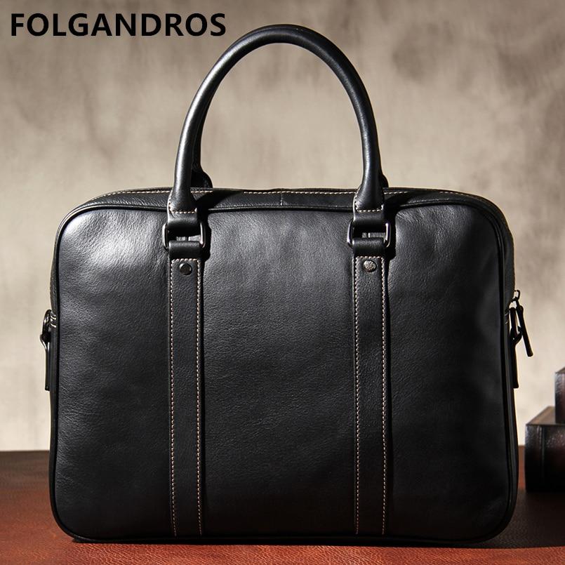 2019 Genuine Leather Brand Designer Briefcases Men Business Laptop Bags Belgium Style Briefcase Gentleman Document Computer Bag