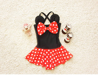 Korean Cartoon Minnie Dots Baby Swimwear Kids Girl Dress Beachwear Red and Black Color Beach Wear Swimming Swimsuit Bathing Suit