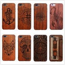 26 стиль компас пират якорь исходной древесины бамбука чехол для телефона iPhone 7 7 Plus 5 5S SE 6 6 S плюс Вендетта мультфильм крышка черепа