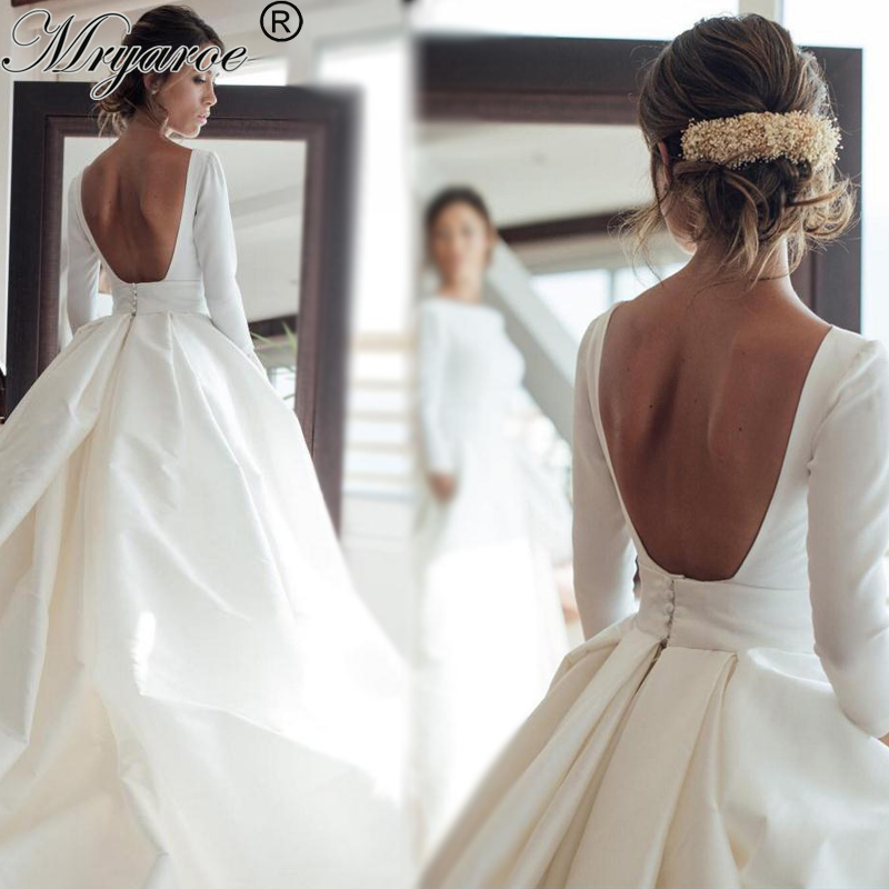 Detachable Cathedral Train Wedding Gown: Simple Elegant Open Back Long Sleeve Wedding Dress