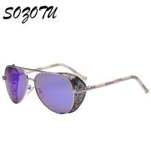 SOZOTU Steampunk Goggles Sunglasses Women Men Vintage Sun Glasses For Male Ladies Retro For Female Male Punk Brand Oculos YQ014