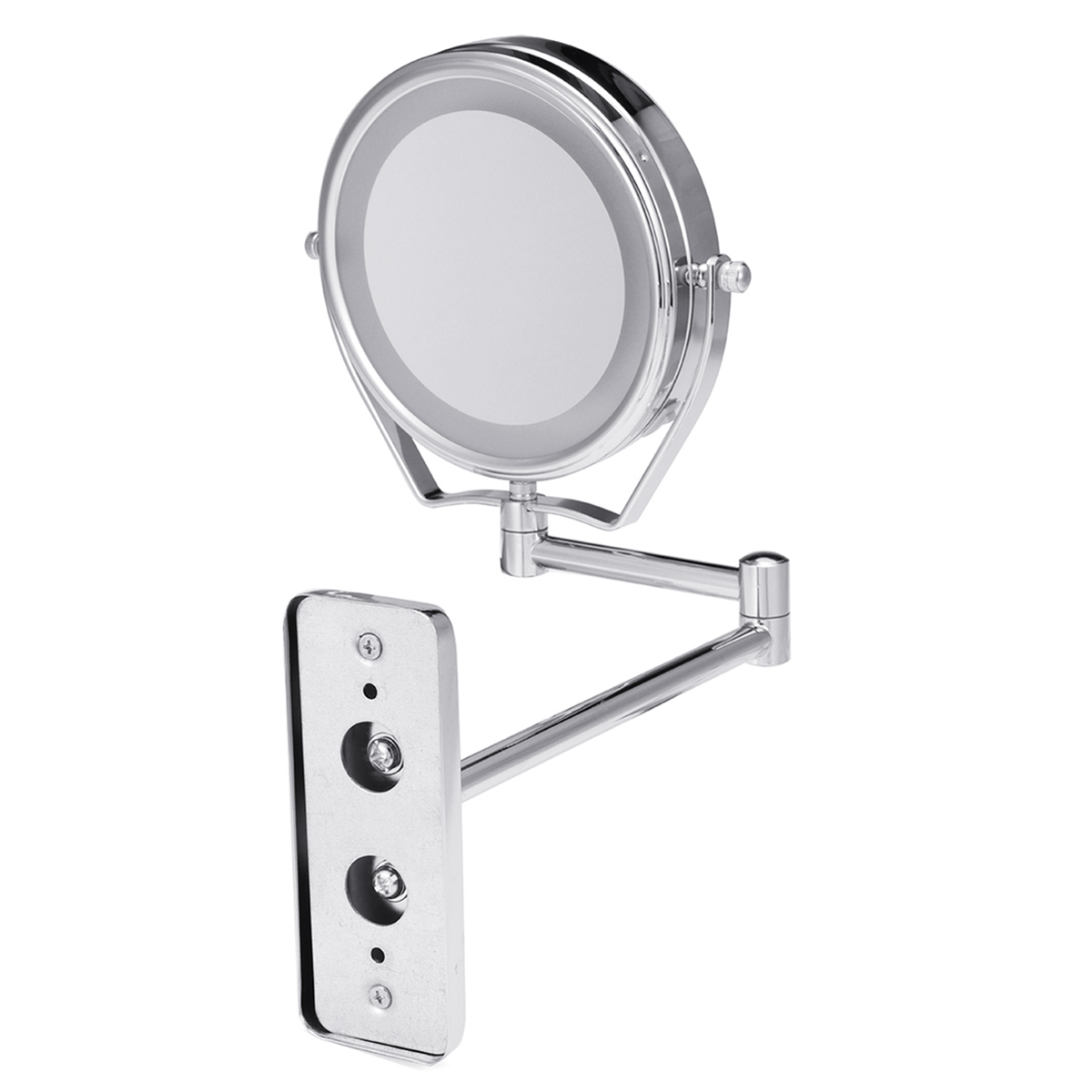"6"" Diameter Bathroom Shaving Makeup Mirror With LED Lights Wall Mount Two Sides Extendable Rotate Cosmetic Mirror Magnifying 7X 5"
