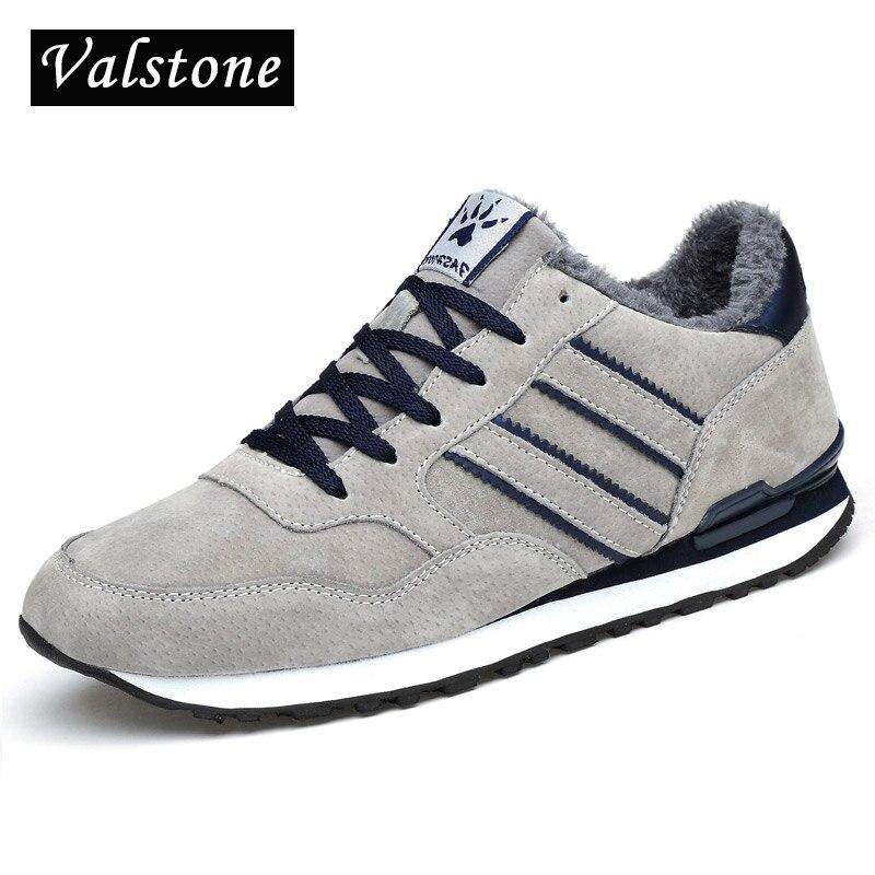 Valstone Men's Winter Sneakers Genuine Leather Warm Mocassins Waterproof Rubber Snow Shoes Comfortable Walking Shoes Grey Blue