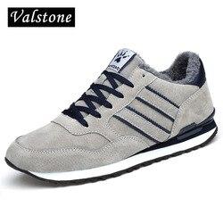 Valstone inverno dos homens tênis de couro genuíno quente mocassinas sapatos de neve de borracha à prova dwaterproof água confortáveis sapatos de caminhada cinza azul