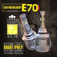 E70 ETI CSP Chips 9005 9006 Car LED Headlight Bulbs High Low Beam Head Lamps 50W 8000LM 6000K 24V X70