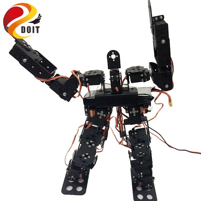 купить Original DOIT 17DOF Biped Robotic Educational Robot Humanoid Robot Kit Servo Bracket Ball Bearing Black Free Send Source Code по цене 3409.93 рублей