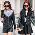 Winter PU Leather Jaqueta De Couro Women Windbreaker Jacket Fur Collar Slim Womens Leather Jackets And Coats Veste Cuir Femme