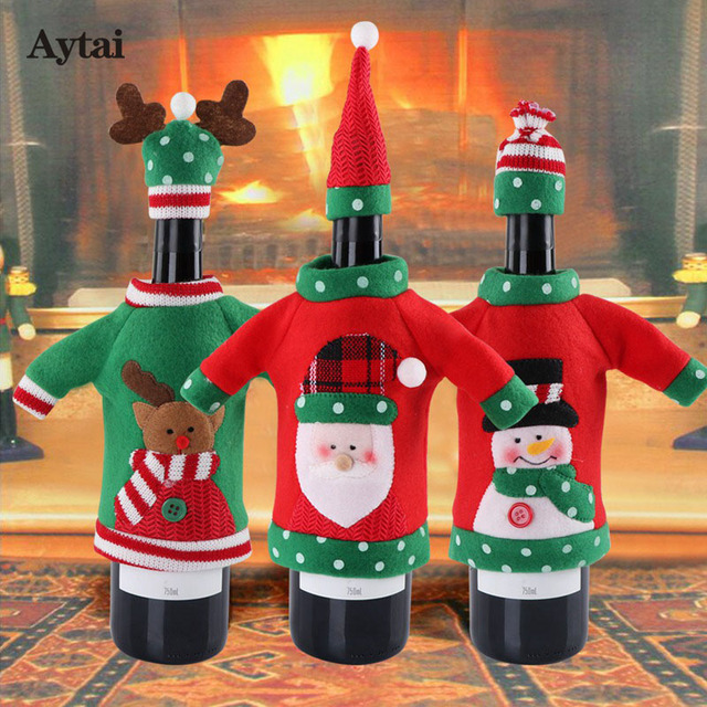 aytai 1pc ugly sweater wine bottle cover bags christmas dinner party xmas plush cute snowmen table - Christmas Dinner Party