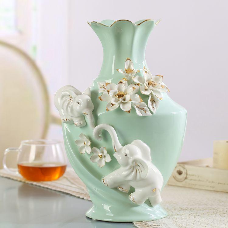 Ceramic Elephant Fashion Creative Abstract Flowers Vase Pot Home