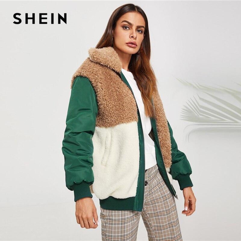 12d75c80a7 SHEIN Color Block Fleece Jacket Casual Contrast Faux Fur Zipper Up  Outerwear Women Highstreet Modern Lady Autumn Jackets-in Basic Jackets from  Women's ...