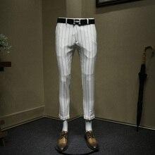 Мужские тонкие укороченные штаны Белые Черные Полосатые деловые штаны для мужчин деловые Повседневные Классические Стильные офисные Свадебные одежда жениха Большие размеры