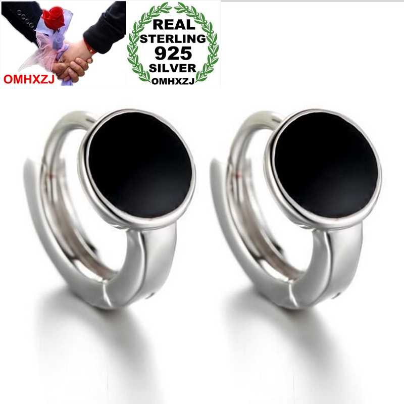 OMHXZJ Wholesale Jewelry round fashion kpop star for Woman gifts Black Spots 925 Sterling Silver buckle  hoop Earrings YS175