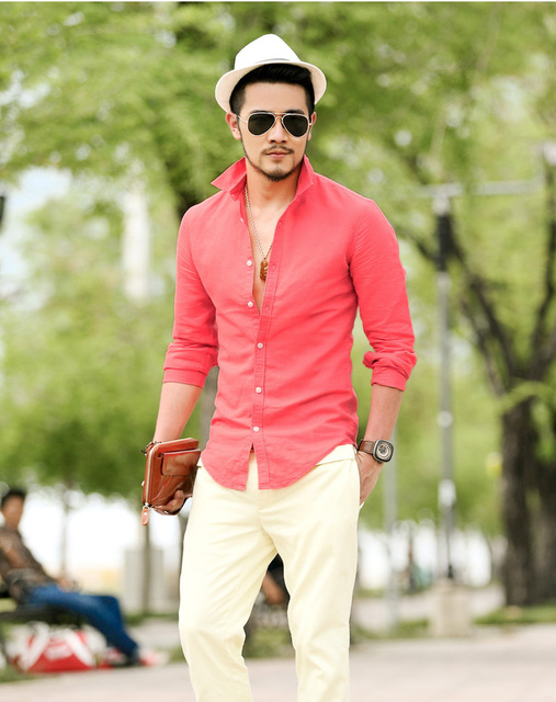 man shirt for wedding formal party prom blue yellow white gray red color fashion boy singer dancer groom bar show