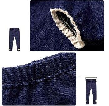 New Brand 2019 Winter Fur Girls Bow Jeans Cotton Children Cashmere Pants Kids Warm Elastic Waist Legging Wholesale And Retail 6