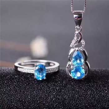 Multicolored jewelry natural TOPAZ 925 silver fashion ring pendant set fine jewelry free shipping