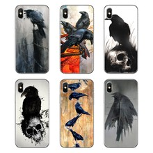 For iPod Touch iPhone 4 4S 5 5S 5C SE 6 6S 7 8 X XR XS Plus MAX Silicone Phone Bag Case abstract artwork birds digital art raven(China)