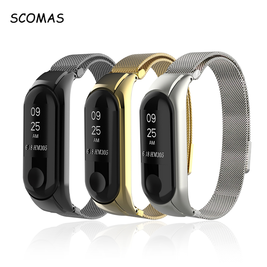 SCOMAS Strap For Mi Band 3 Replacement Bracelet Stainless Steel Milanese Loop Magnet Strap For Xiaomi Mi Band 3 milanese loop bracelet for xiaomi mi band 2 strap stainless steel metal wrist band for xiaomi mi band2 replacement wristband