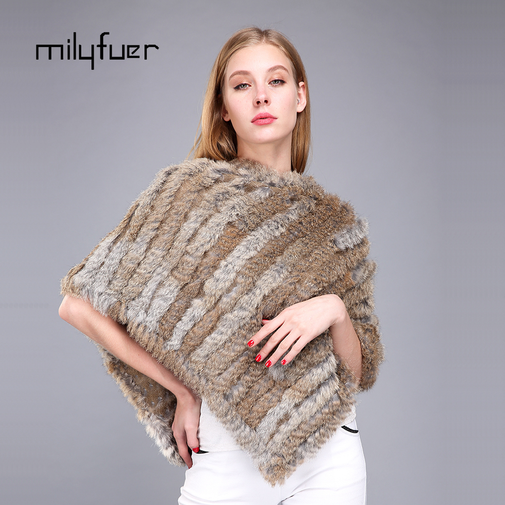 Milyfuer Real Rabbit Fur Shawl Knitted Scarves For Women Winter Warm Outerwear Real Fur Scarf Rhombus