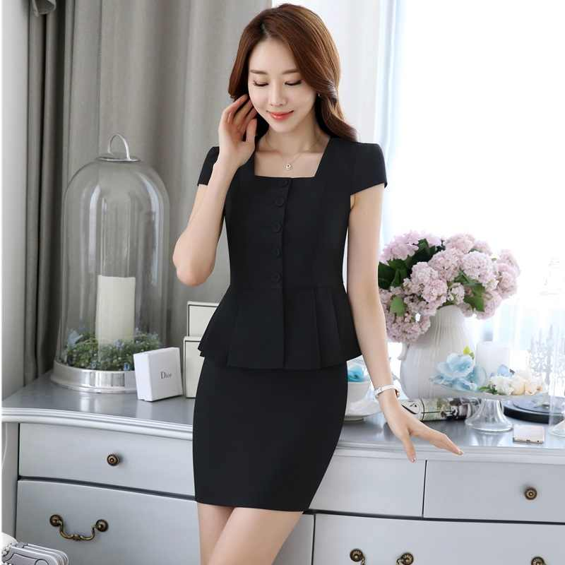 939c6fbec98c ... Elegant Pink Slim Fashion Summer Professional Business Women Work Suits  With 2 Pieces Tops And Skirt ...