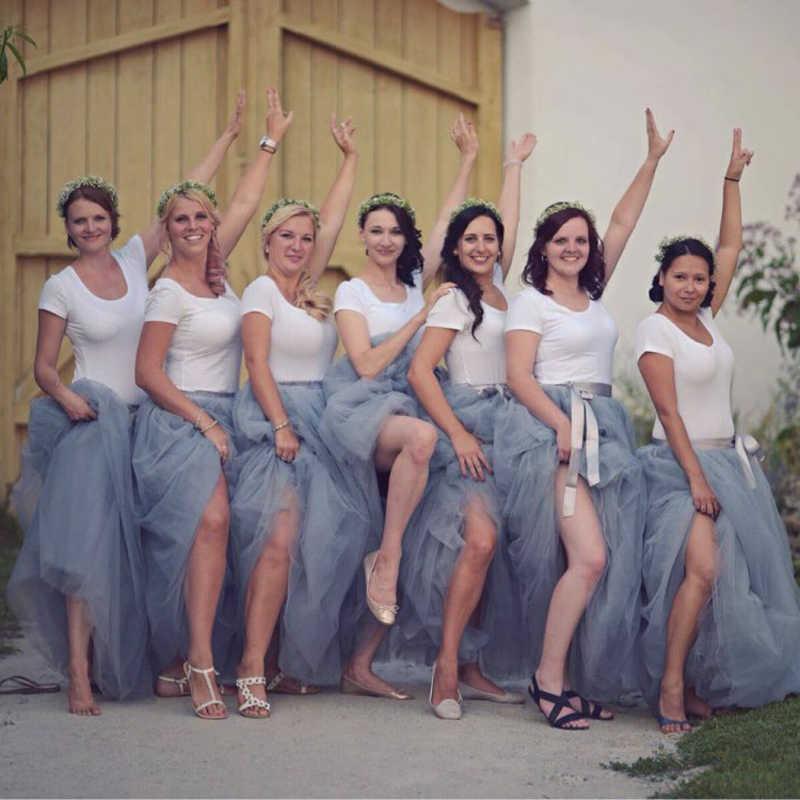 2019 איכות 7 שכבות 100cm ארוך טול חצאיות נשים קפלים חצאית אופנה חתונה כלה שושבינה חצאית Faldas נהיגה לראשונה חצאית Saias