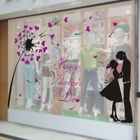 Valentine's day love Jewelry, clothing shop market large window glass wall stickers festival atmosphere decoration