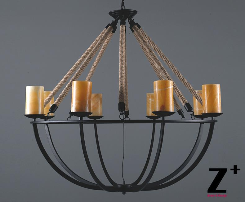 America style vintage country Linen Flax Rope Marble candlestick made Led chandelier lamp E14 X 8 LIGHTs free shipping