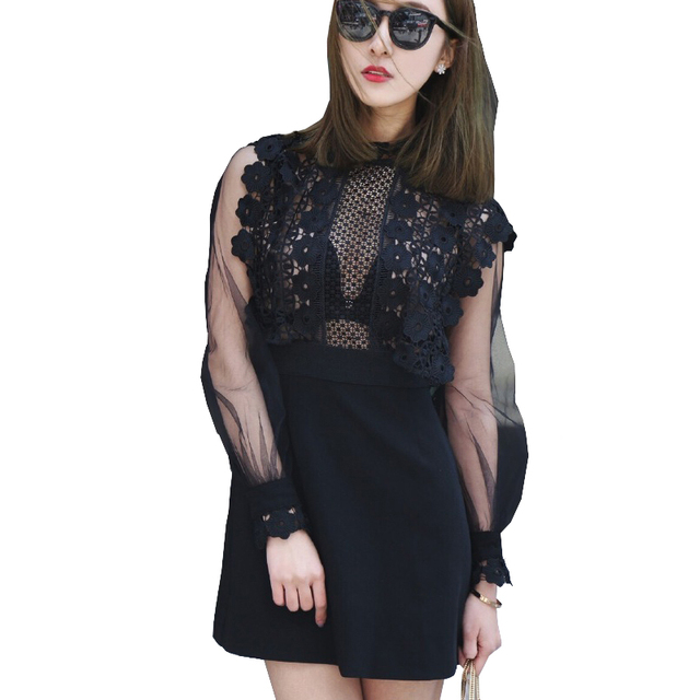 High Fashion Summer Runway Little Black Lace Dress To Party Mesh Patchwork Soluble Flower Lace Long Sleeve Crochet Dress Vestido