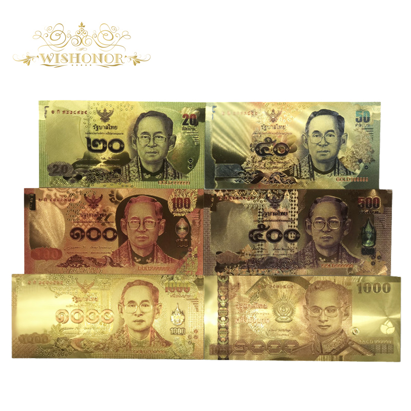 6pcs/lot 24K Color Thailand Banknotes 20 50 100 500 1000 Baht Gold Foil Banknote In 24K Gold Plated Paper Money For Collection
