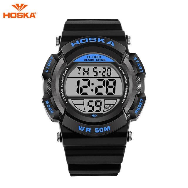 Hot Sale HOSKA Luxury Brand Men Sports Watch 5ATM Waterproof Multifunction Quartz Digital LED Backlight Military Watches H007