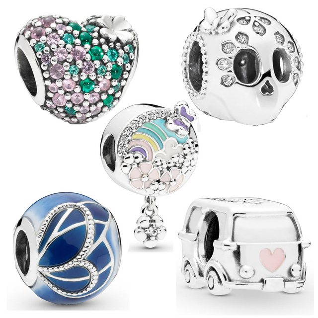 New Authentic 925 Sterling Silver Skull Camper Van Beads Ladybird Butterfly Charm Bracelet
