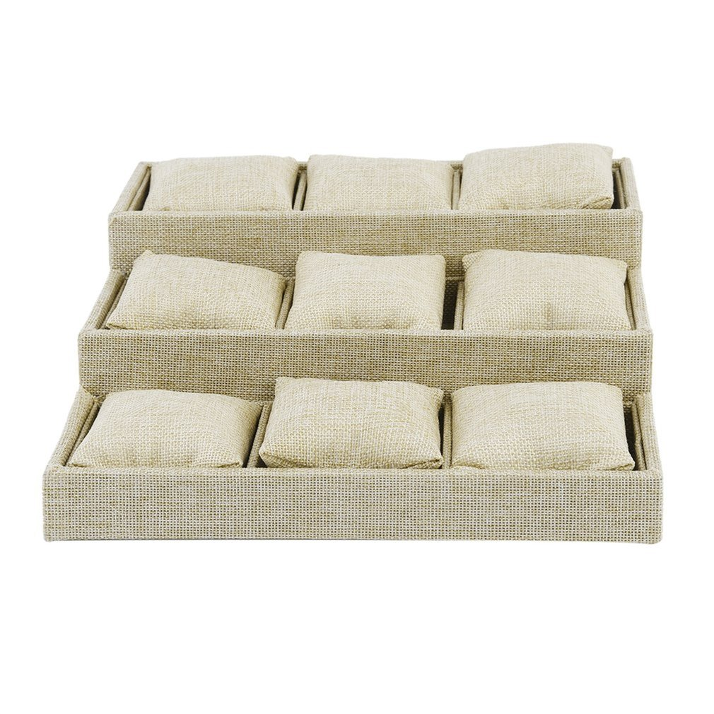 9 Grids Linen Cloth Jewelry Display Tray Holder Shop Presentation Organizer Storage Box For Earrings Necklace