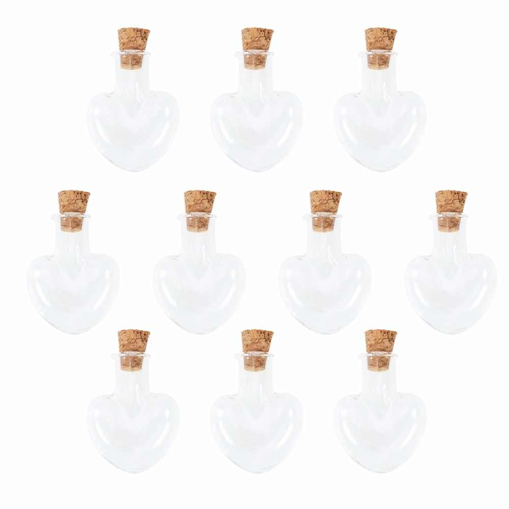 10pcs Love Heart Shape Mini Wish Note Craft Glass Bottles Jars with Cork  (Clear)