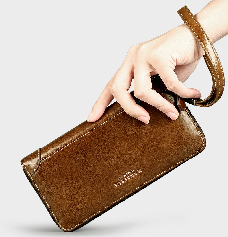 Top quality Luxury Shining Oil Wax Cowhide Men Clutch Bag, clutch wallet, male genuine leather long designer purse