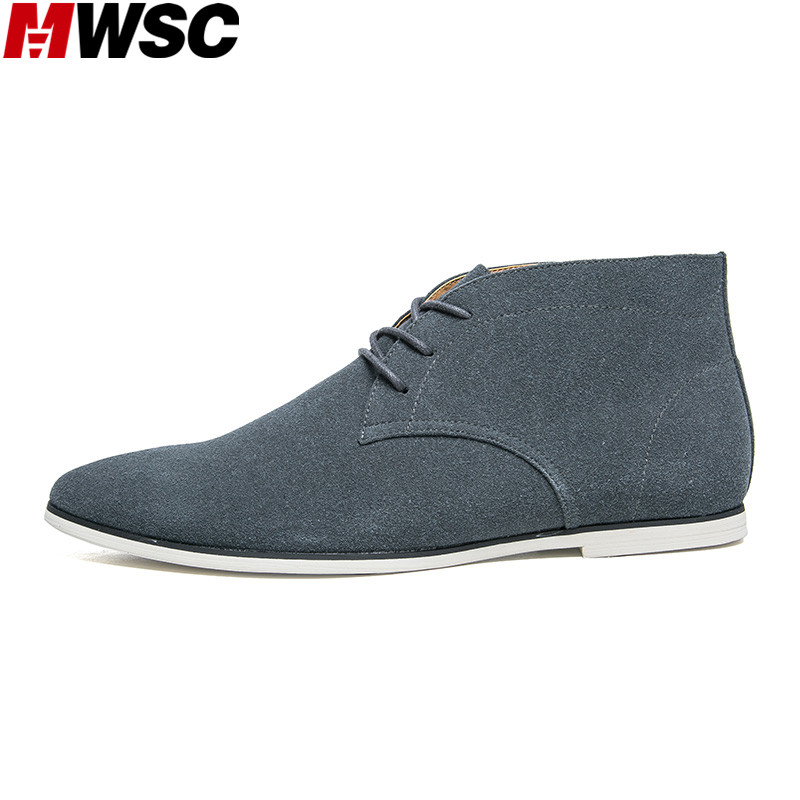 MWSC New Arrival Men Casual Suede Leather Shoes Male High Top Lace Up British Style Leisure Shoes vmuksan hot sale suede leather shoes men high quality lace up men casual shoes new style comfortable men s spring shoes