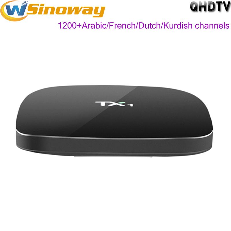 Prix pour Android4.4 tv box TX1 avec 1 année Arabe iptv abonnement iptv français Afrique Tunisie Pays-Bas Kurde iptv boîte europe canaux