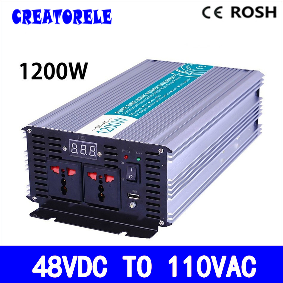P1200-481 1200w Pure sine wave dc ac iverter 48vdc to 110vac soIar iverter  voItage converter, IED DispIay p800 481 c pure sine wave 800w soiar iverter off grid ied dispiay iverter dc48v to 110vac with charge and ups